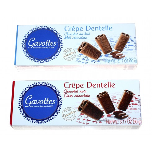 GAVOTTES CREPE DENTELLE IN DARK OR MILK CHOCOLATE- SMALL BOX