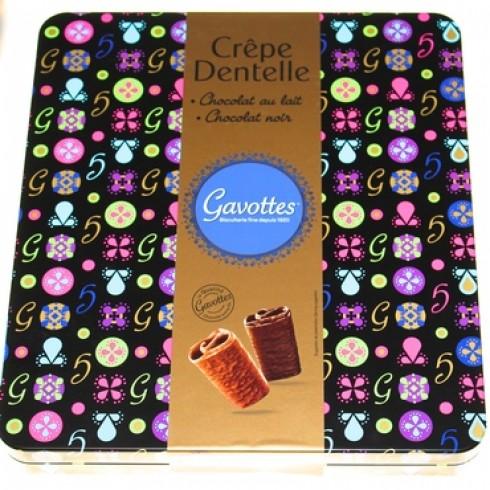 GAVOTTES CREPE DENTELLE MILK & DARK CHOCOLATE- BLACK HOLIDAY TIN